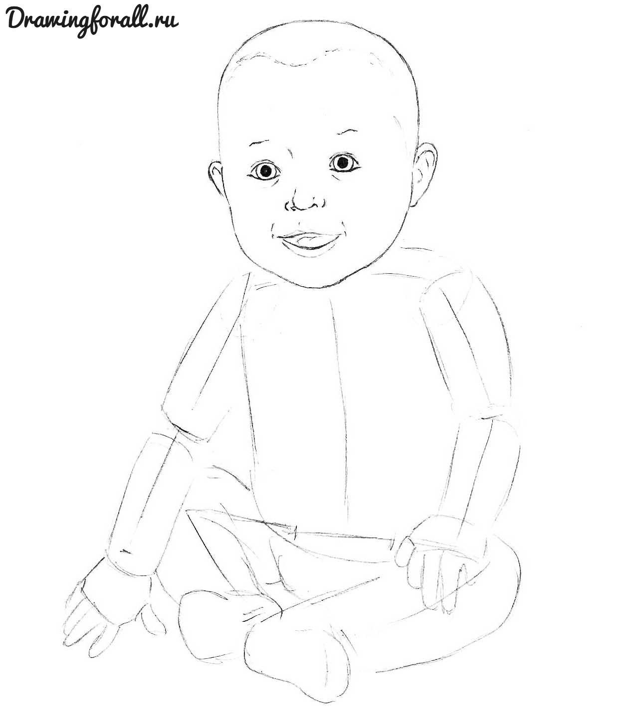 как нарисовать маленького ребенка