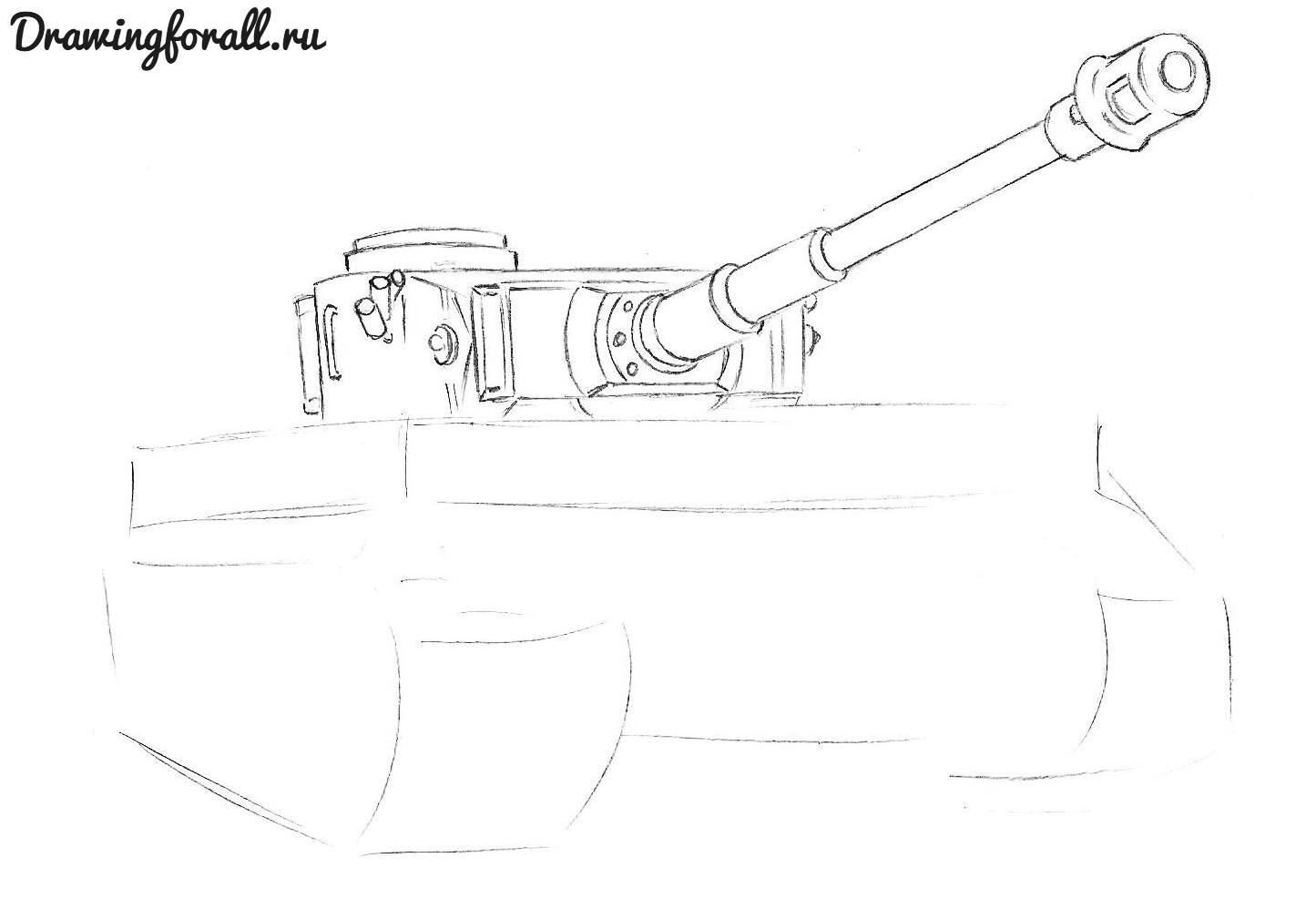 как нарисовать танк тигр поэтапно