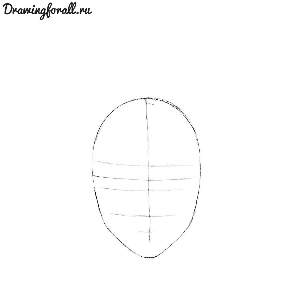 как нарисовать аниме лицо мальчика