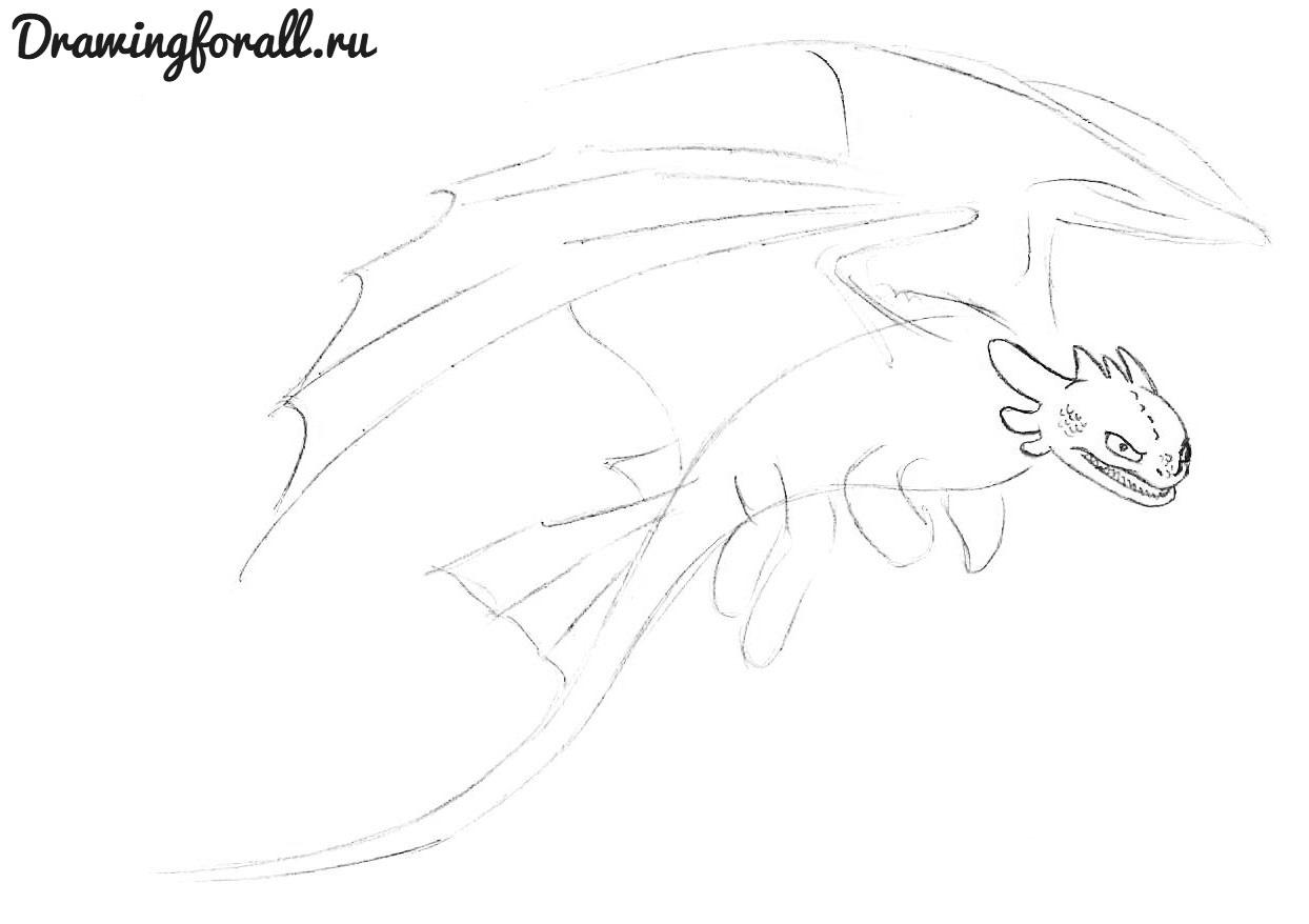 как нарисовать беззубика из как приручить дракона