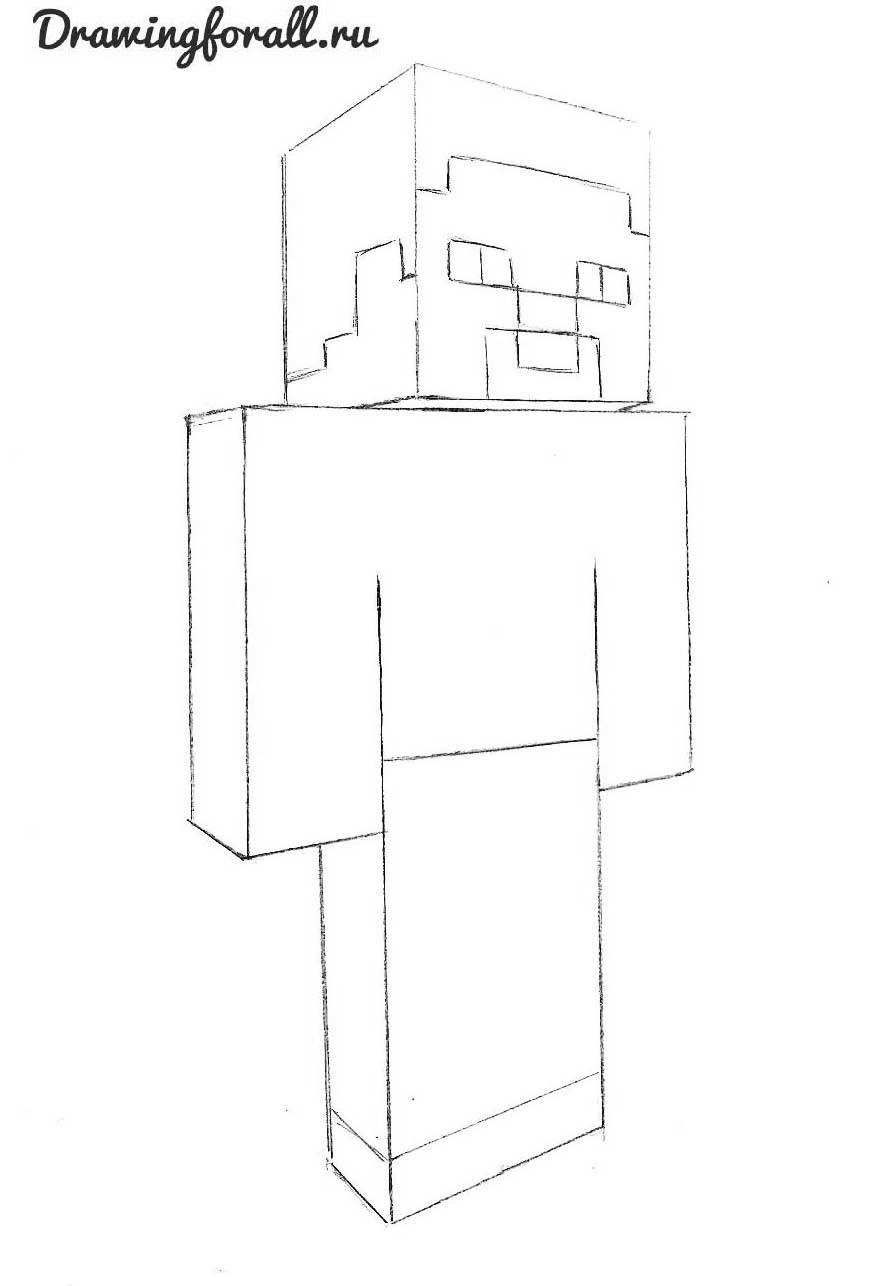 как нарисовать майнкрафт карандашом поэтапно