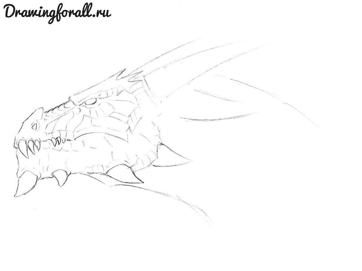 как нарисовать морду дракона