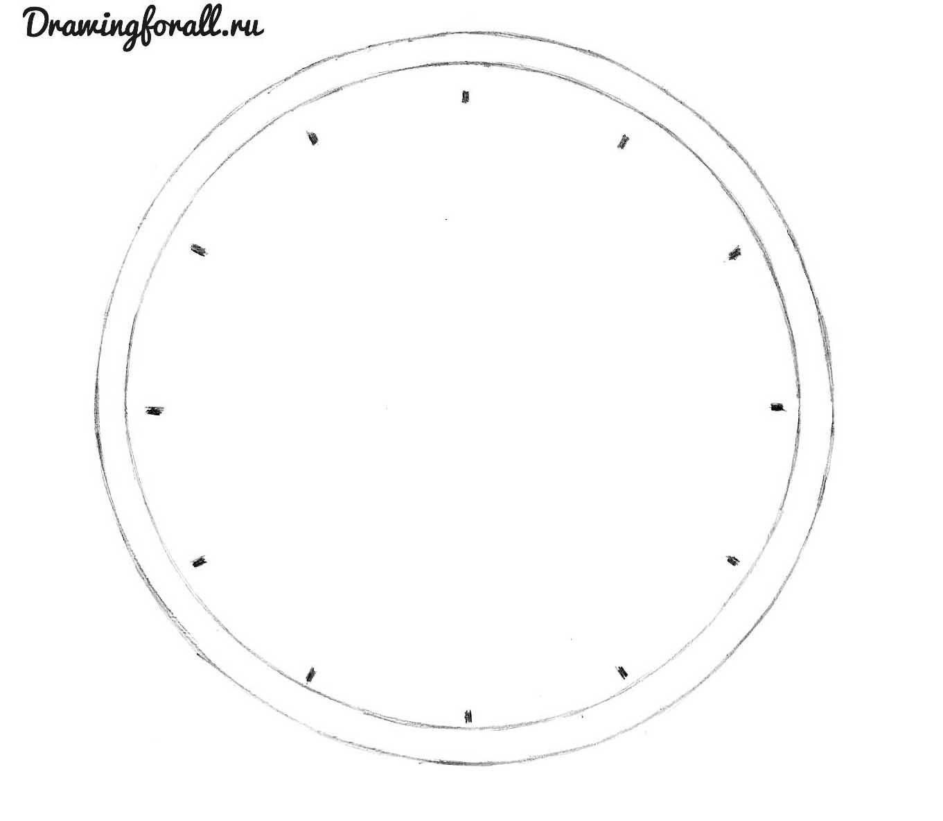 как нарисовать настенные часы карандашом