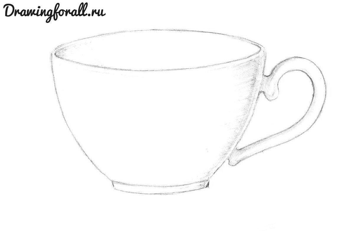 нарисованная карандашом чашка