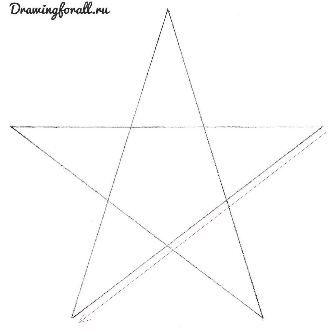 нарисовать звезду карандашом