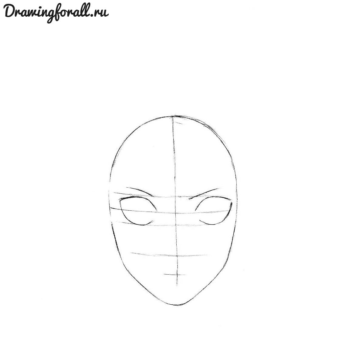 как нарисовать аниме лицо поэтапно