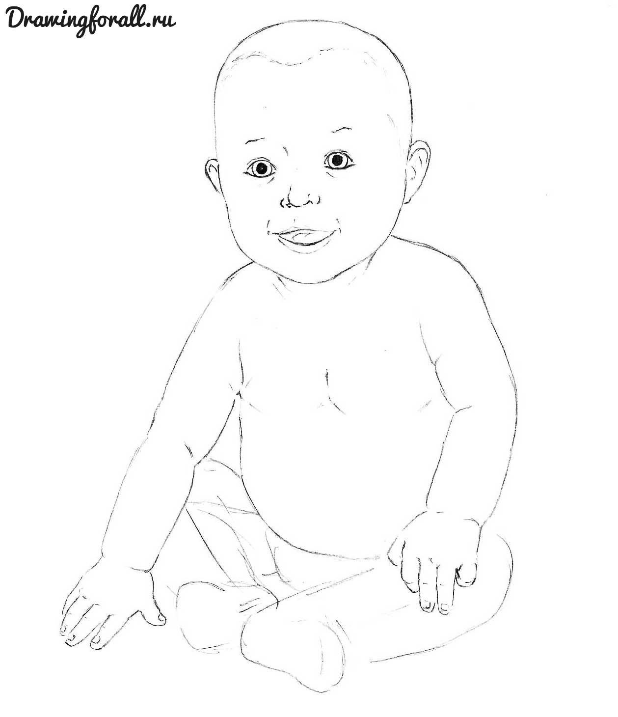 как нарисовать маленького ребенка карандашом