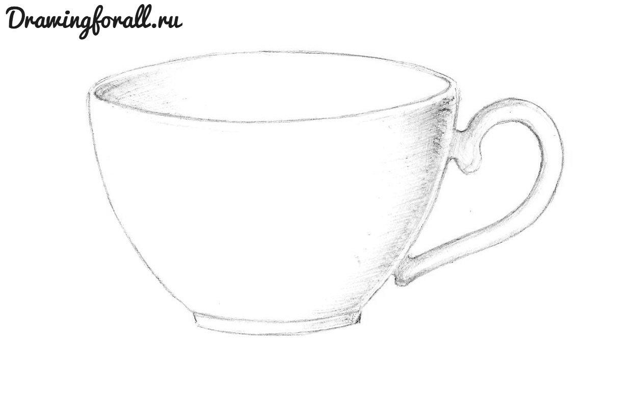 Рисованная карандашом кружка