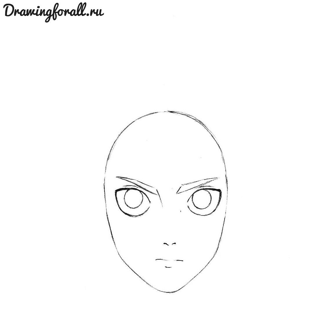 поэтапная схема рисования лица