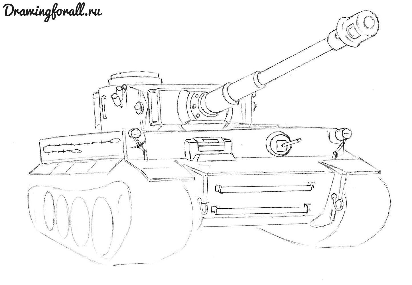 как нарисовать военный танк