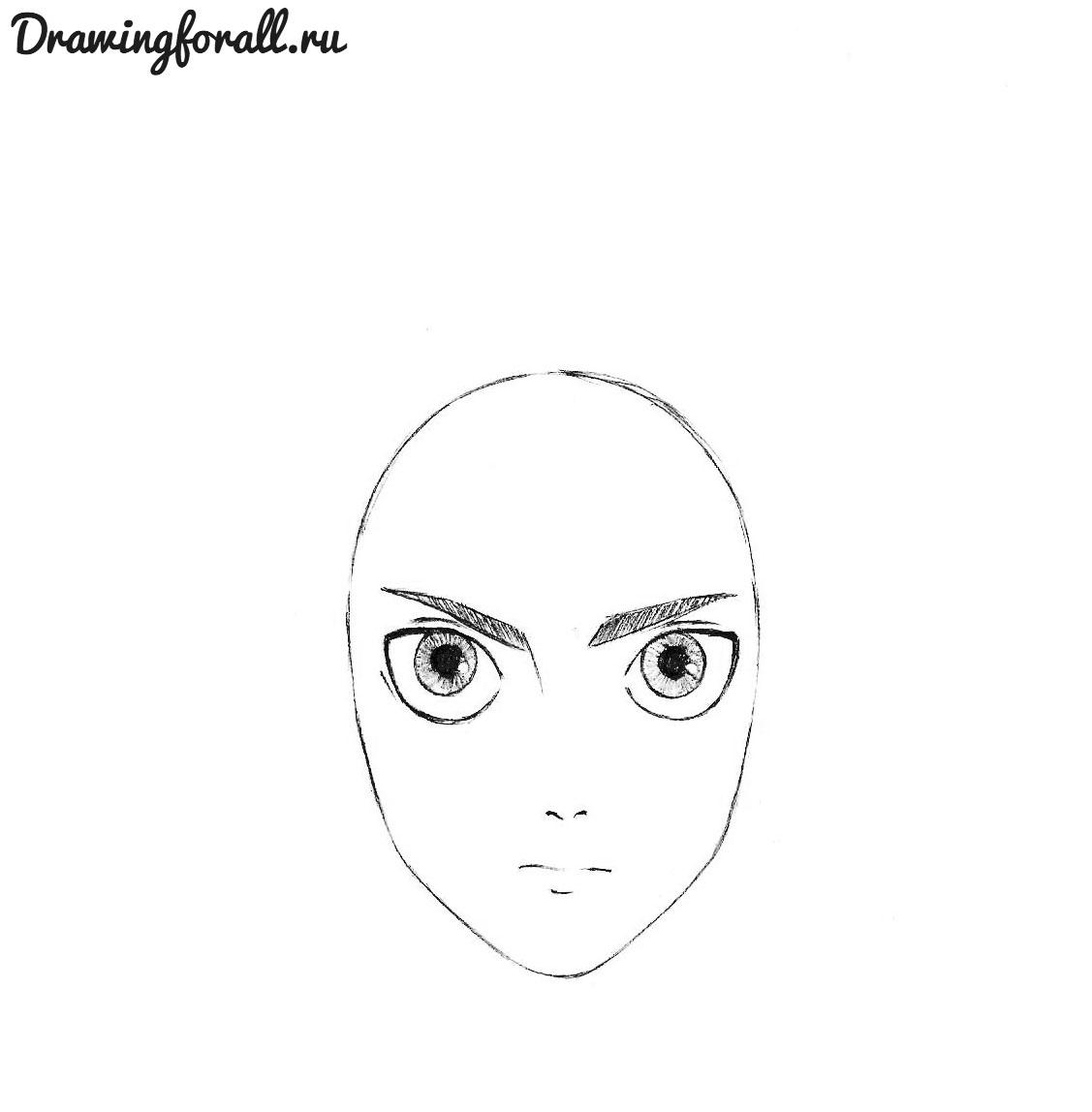 как нарисовать лицо эрена йегера