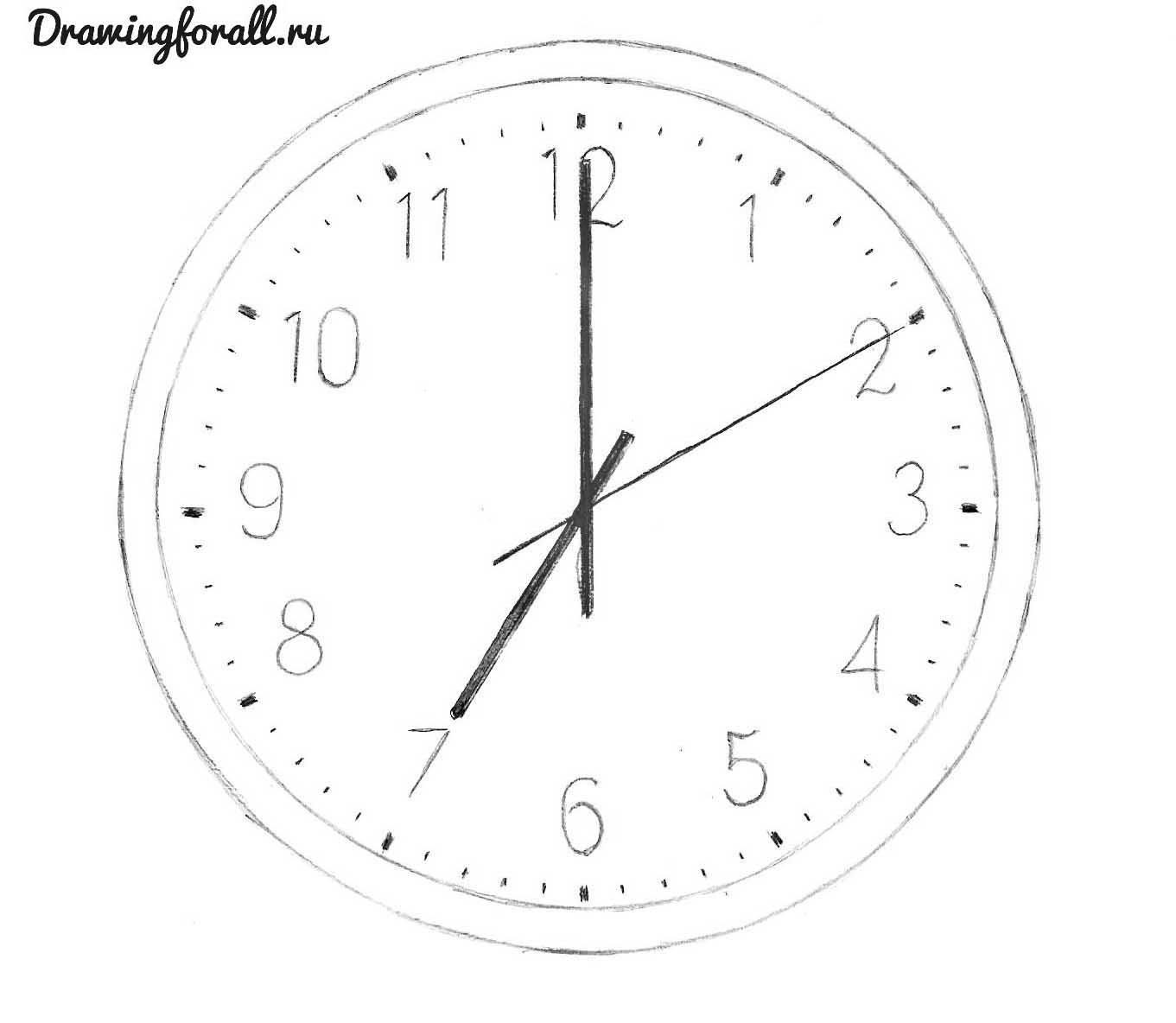 как нарисовать часы карандашом