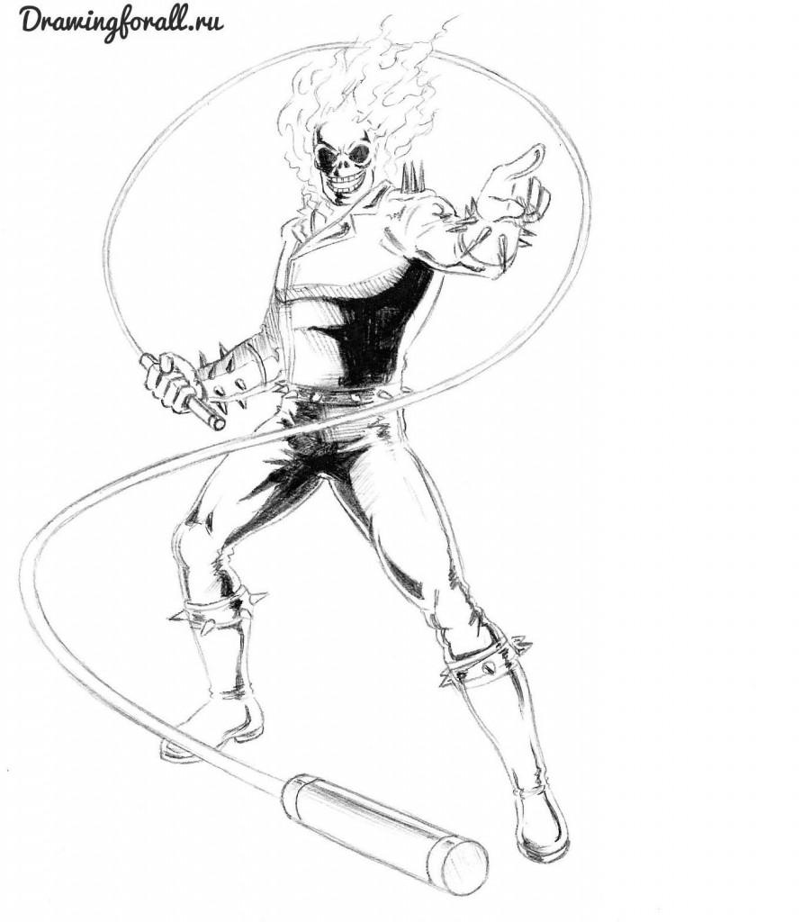 призрачный гонщик нарисованный карандашом