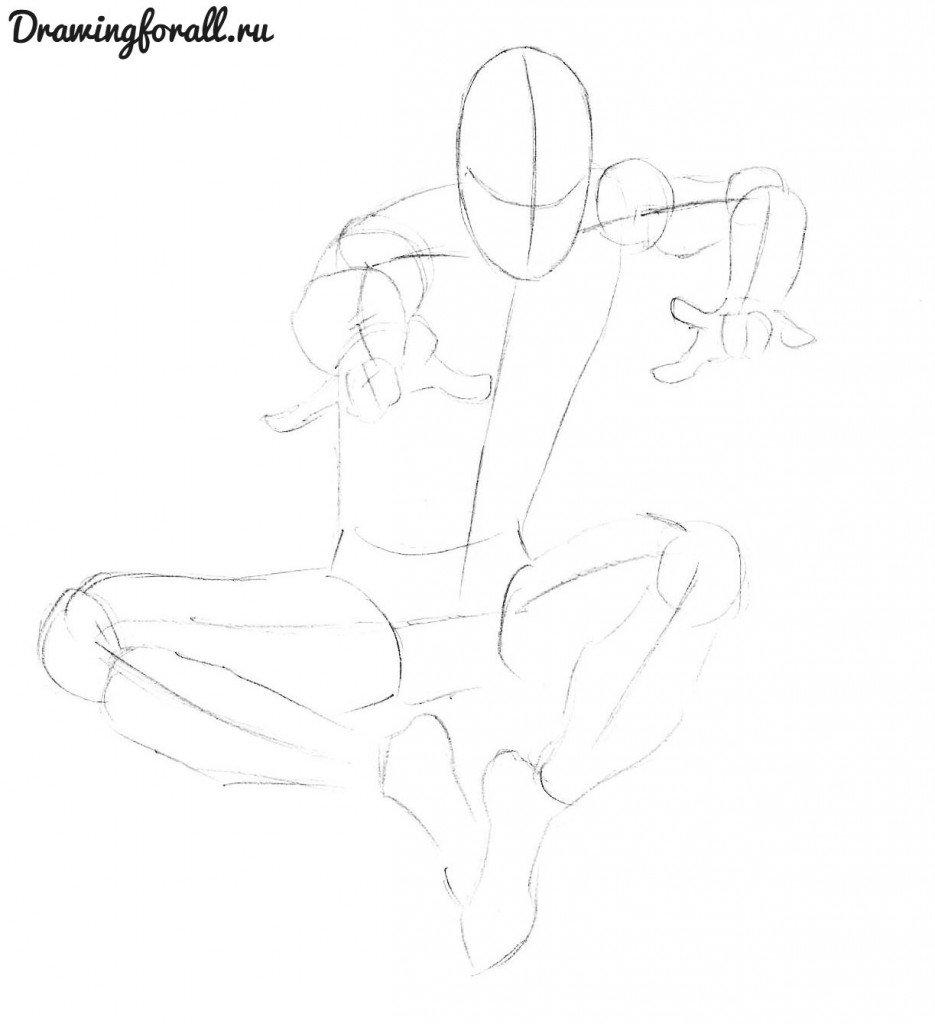 Как нарисовать алого Человека-Паука карандашом поэтапно