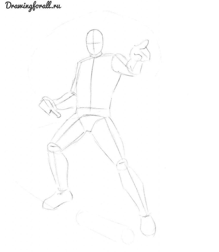 как нарисовать призрачного гонщика  карандашом поэтапно
