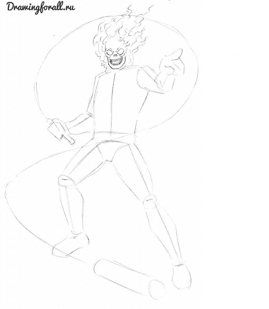 как нарисовать призрачного гонщика карандашом