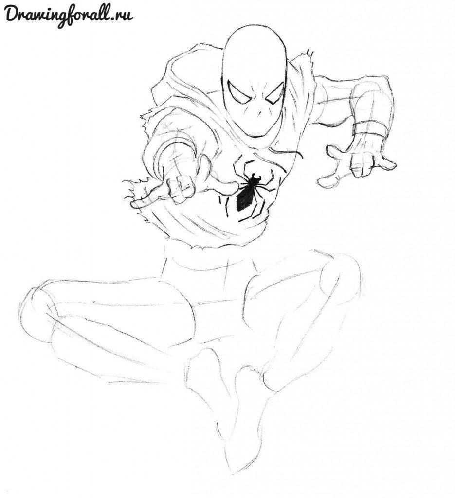 алый человек паук рисунок карандашом