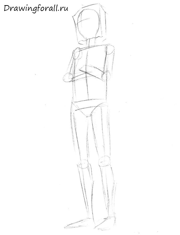 как нарисовать битарда карандашом