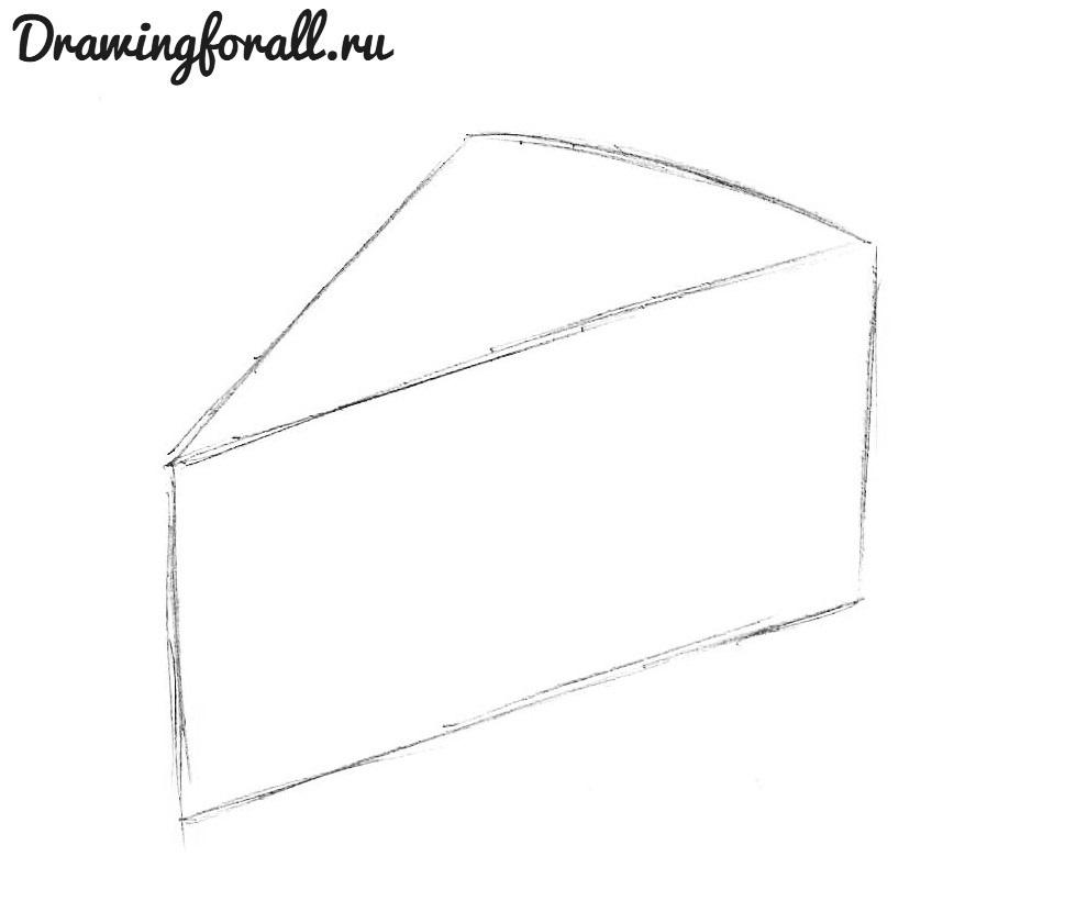 как нарисовать сыр карандашом поэтапно