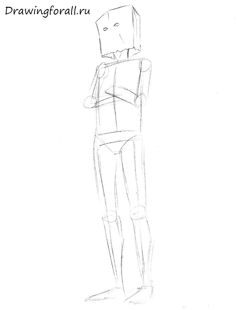 как нарисовать битарда карандашом поэтапно