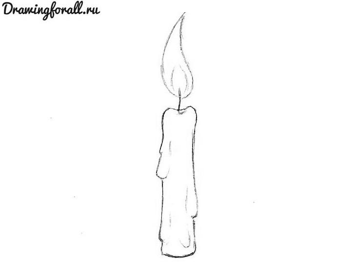 нарисованная свеча