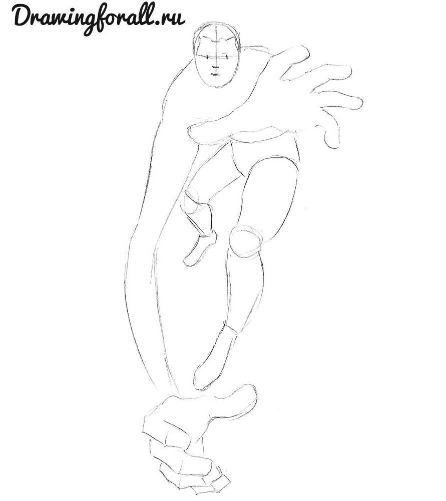 как нарисовать мистера фантастика карандашом поэтапно