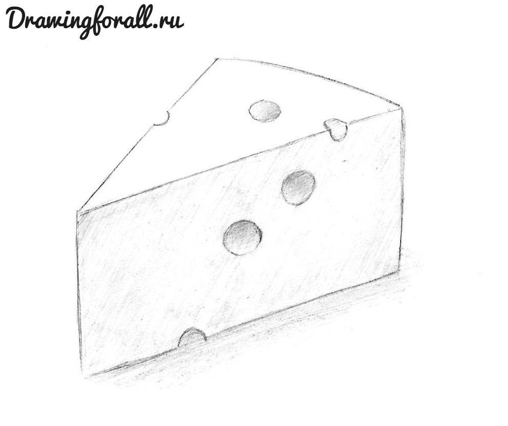 сыр нарисованный карандашом
