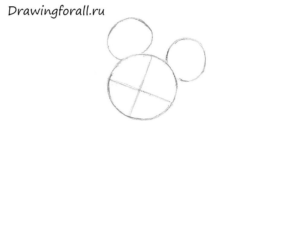 как нарисовать микки мауса шаг за шагом