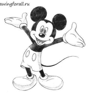Как нарисовать Микки Мауса поэтапно