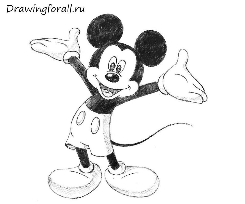 Микки Маус рисунок карандашом