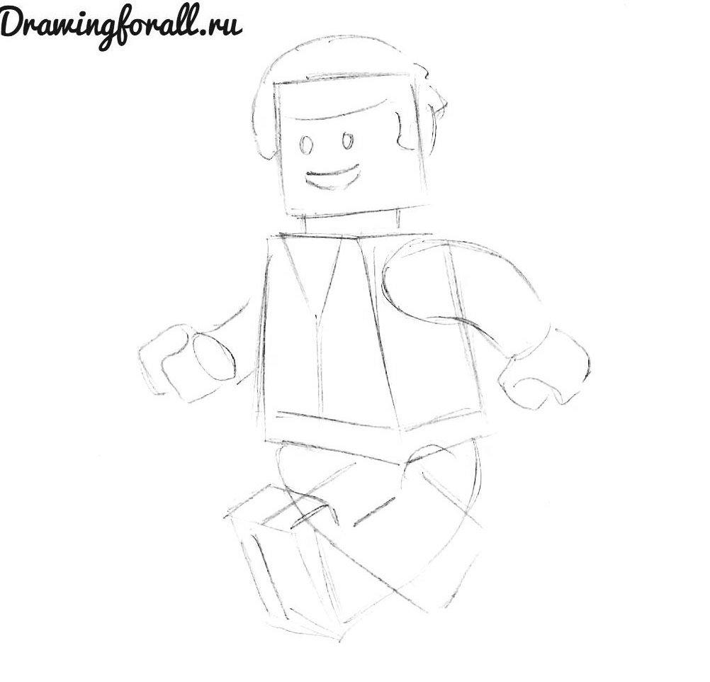 как нарисовать лего человечка карандашом