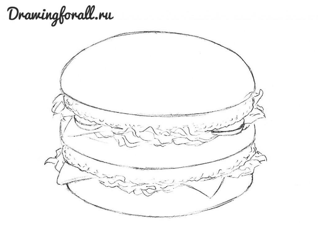 как нарисовать гамбургер шаг за шагом