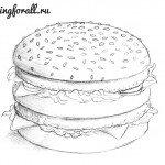 Как нарисовать гамбургер