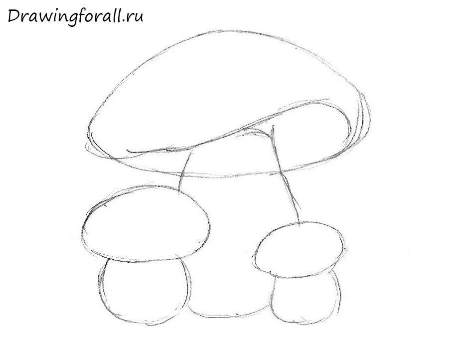 как нарисовать грибы для начинающих