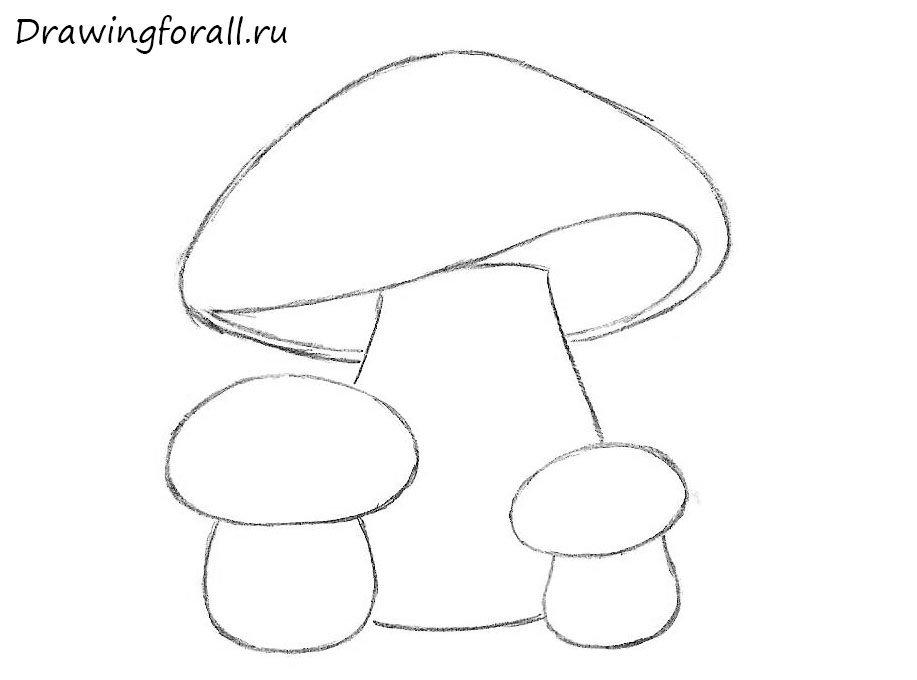 как нарисовать грибы карандашом поэтапно