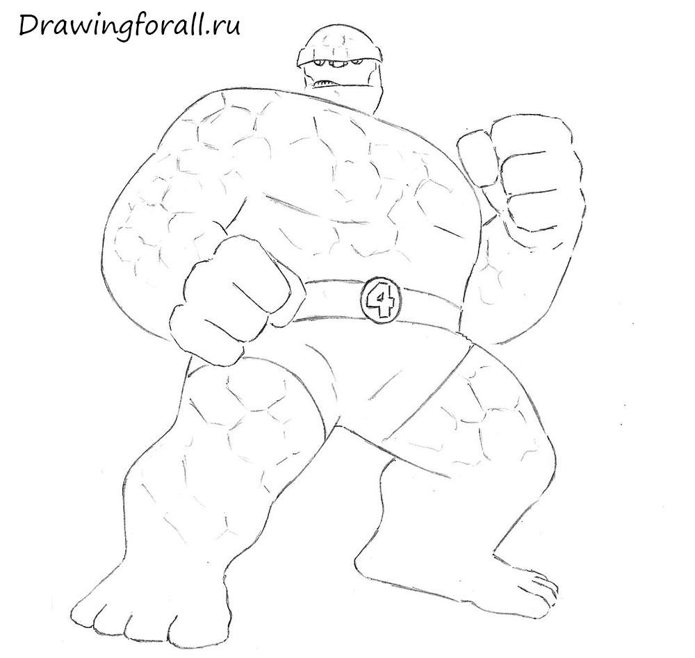 как нарисовать существо из фантастической четверки шаг за шагом