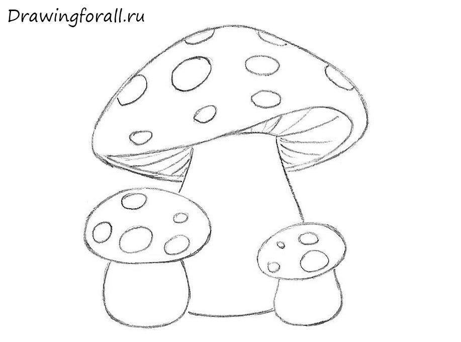 как нарисовать грибы для ребенка