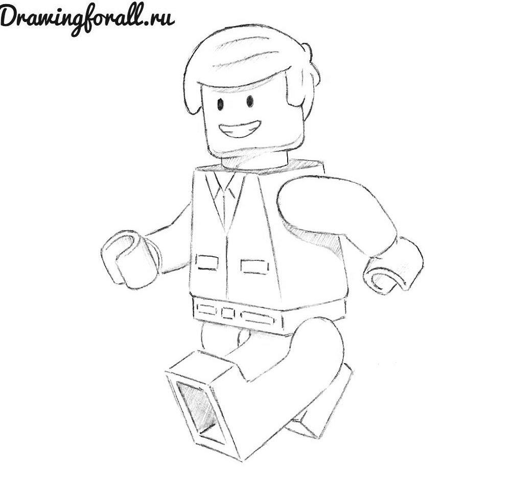 как нарисовать лего человека карандашом поэтапно