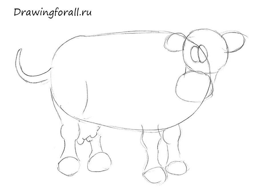 как нарисовать корову ребенку