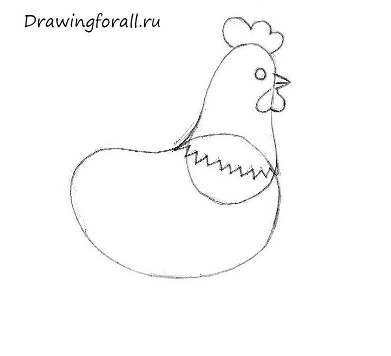 как нарисовать курицу ребенку