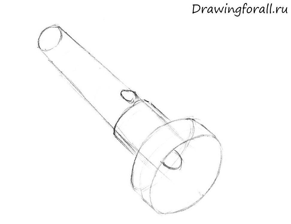 как нарисовать фонарик карандашом поэтапно