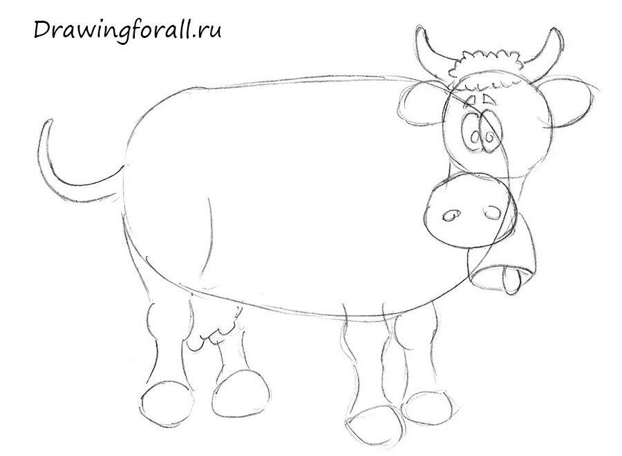 как нарисовать корову для начинающих