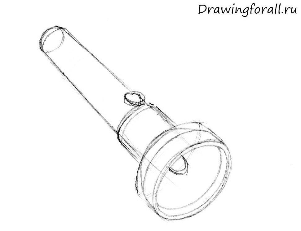как нарисовать фонарик шаг за шагом