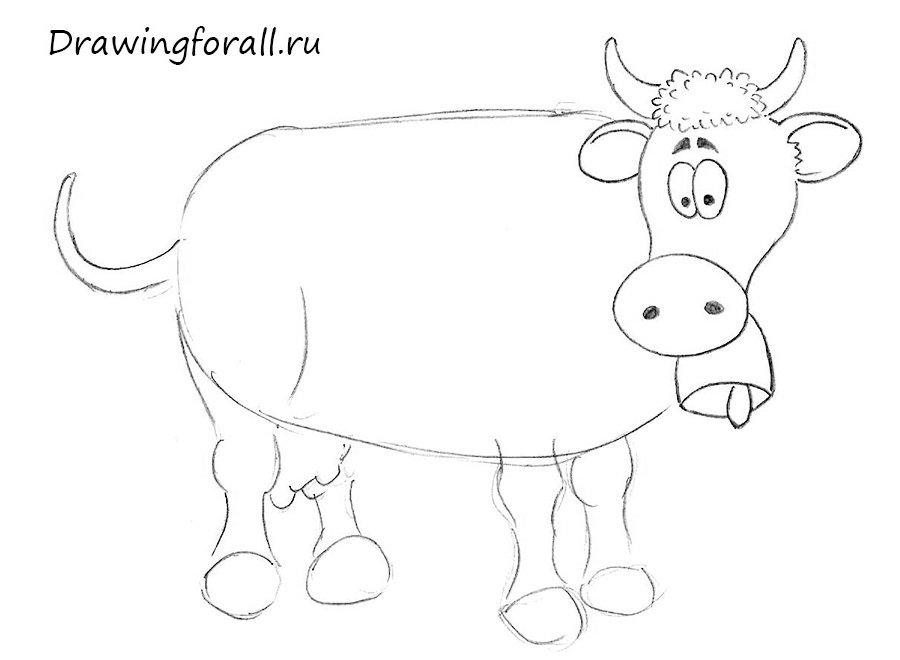 как нарисовать корову для детей карандашом поэтапно