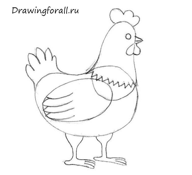 как нарисовать курицу карандашом поэтапно для детей