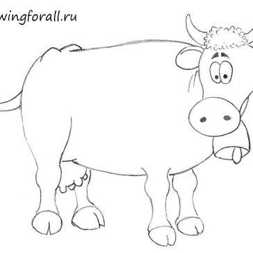 Как нарисовать корову карандашом для начинающих