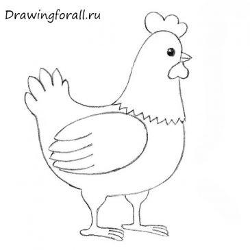 Как нарисовать курицу поэтапно