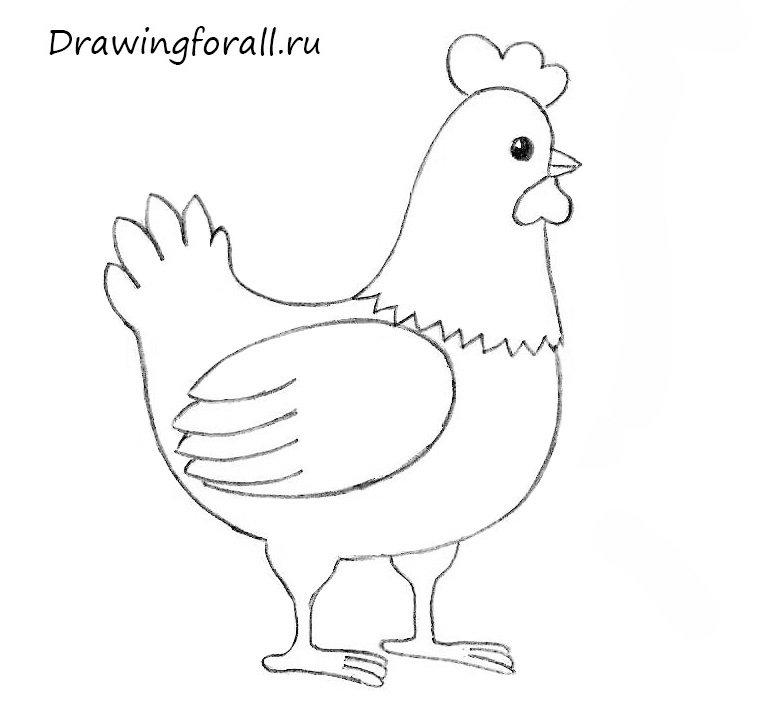 как нарисовать курицу для начинающих