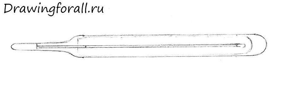как нарисовать градусник карандашом поэтапно