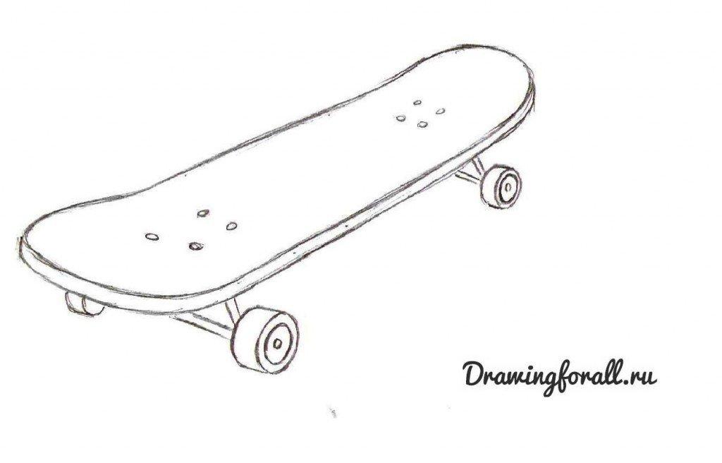 Как нарисивать скейтборд поэтапно карандашом